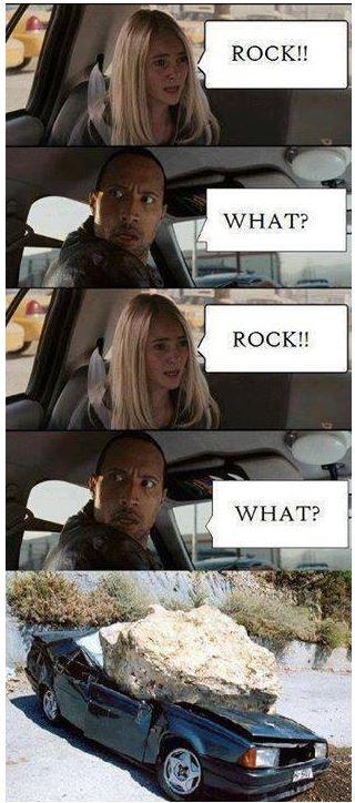 Rock in a car meme