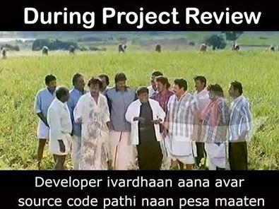 During Project review meme