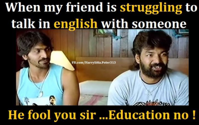 Friend talking in English