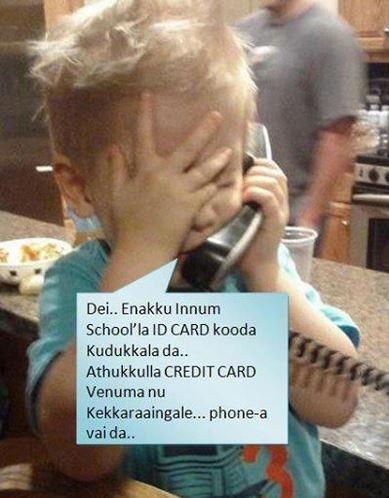 Baby talking about school in mobile phone