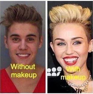 Justin Bieber with and without makeup joke