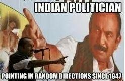 Indian politician pointing in various directions