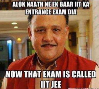 Alok Nath wrote an entrance exam